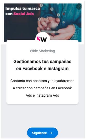 Anuncio con formulario Leads Ads - Facebook Ads - Wide Marketing